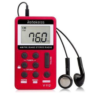 Retekess V112 Tragbares Radio Mini, AM FM-Kleinradio, Schlaf-Timing, Speicherstationen, Wiederaufladbarer Akku, Taschenradio mit Kopfhörern, zum Laufen, Gehen, Reisen, Schlafen (Rot)